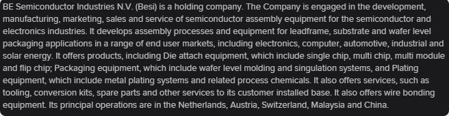 BE Semiconductor análise fundamental