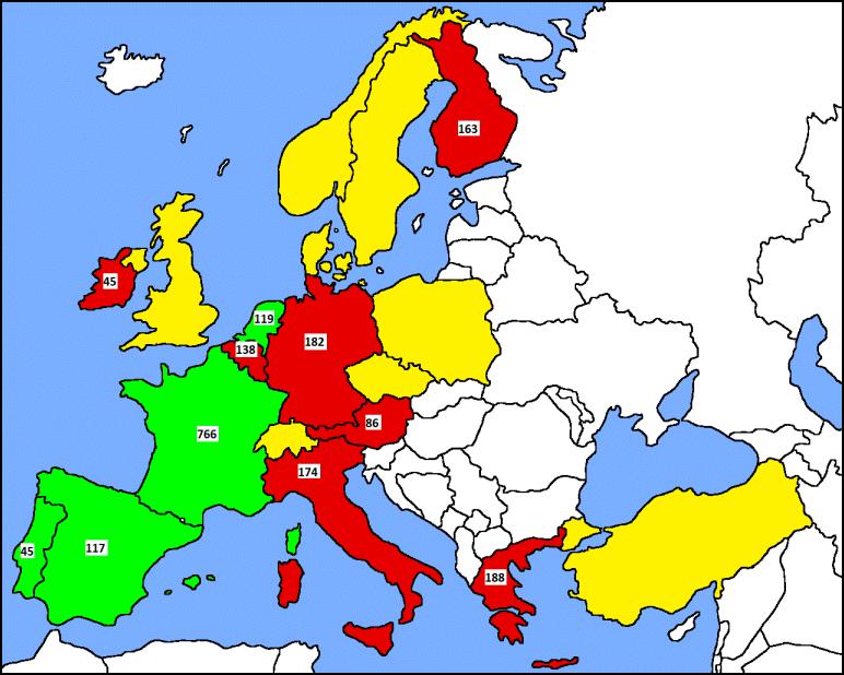 número de ações listadas por Bolsa na zona euro